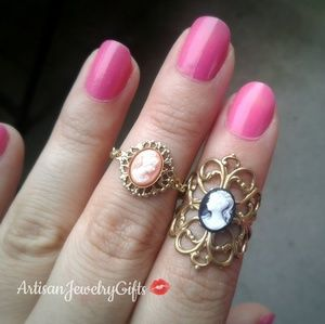 Victorian Lady Cameo Ring Set Rings Set